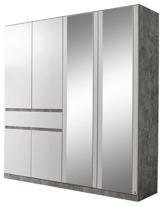 KLEIDERSCHRANK 6  -türig Grau, Weiß - Weiß/Grau, Design, Glas/Holzwerkstoff (181/197/54cm) - Carryhome