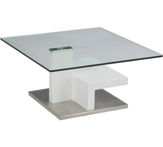 KLUBSKA MIZA, 80/40/80 cm bela, nerjaveče jeklo  - bela/nerjaveče jeklo, Design, kovina/steklo (80/40/80cm) - Xora