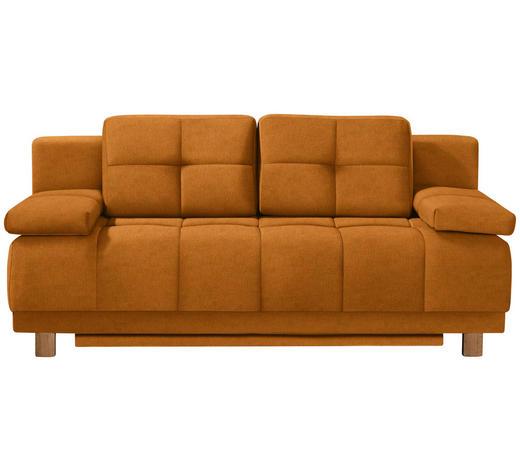 BOXSPRINGSOFA in Textil Orange - Chromfarben/Orange, MODERN, Textil/Metall (202/92/104cm) - Novel