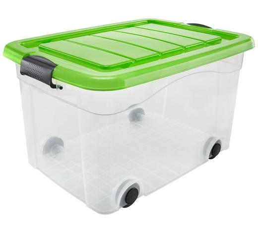 AUFBEWAHRUNGSBOX - Transparent/Grün, Basics, Kunststoff (53/40/32cm) - Homeware