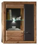 HÄNGEVITRINE Grau, Eichefarben  - Chromfarben/Eichefarben, Design, Glas/Holzwerkstoff (90/114/37cm) - Cantus