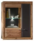 ZÁVĚSNÁ VITRÍNA, barvy dubu, šedá - šedá/barvy dubu, Konvenční, kov/dřevěný materiál (90/114/37cm) - Cantus