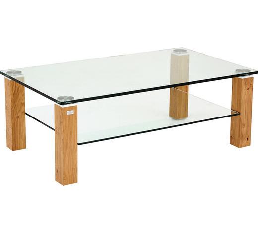 COUCHTISCH in Holz, Glas 120/70/42,5 cm   - Eichefarben, KONVENTIONELL, Glas/Holz (120/70/42,5cm)