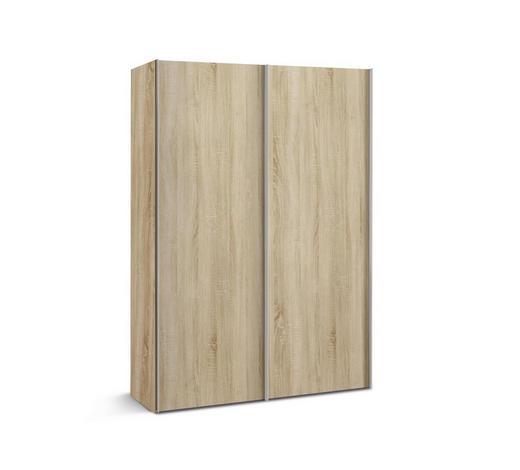 SCHWEBETÜRENSCHRANK 2-türig Sonoma Eiche  - Alufarben/Sonoma Eiche, KONVENTIONELL, Holzwerkstoff/Metall (150/216/48cm) - Hom`in