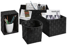 REGALKORB  - Schwarz, Basics, Textil/Metall - Landscape