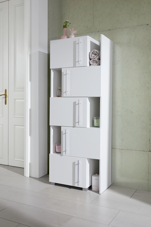 HYLLMODUL - vit/kromfärg, Design, metall/träbaserade material (47-78/164/35cm)