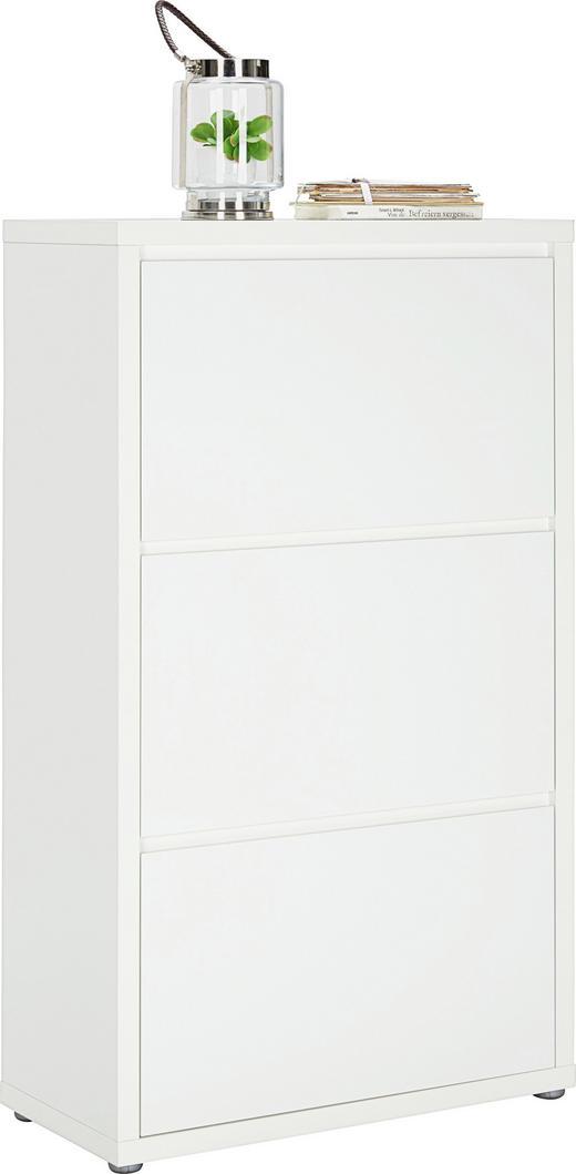 SCHUHSCHRANK Hochglanz, lackiert Weiß - Weiß, Design, Holzwerkstoff (70/121/34cm)
