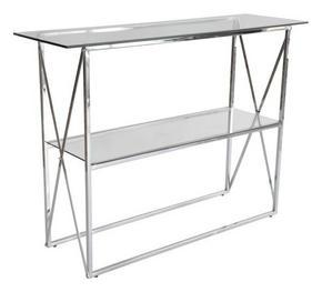 AVLASTNINGSBORD - kromfärg/transparent, Design, metall/glas (110/35/81cm)