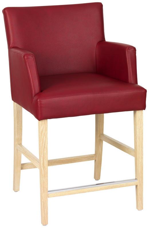TRESENSTUHL Lederlook Eiche massiv Rot - Rot, Design, Holz/Textil (57/99/61cm)