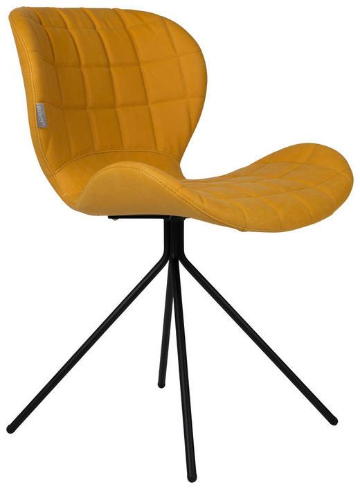 STUHL Lederlook Gelb - Gelb/Schwarz, Design, Textil/Metall (51/56/80cm)