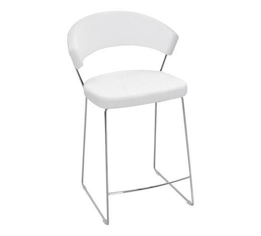 BARHOCKER Echtleder Weiß, Chromfarben  - Chromfarben/Weiß, Design, Leder/Metall (57/91/55cm)