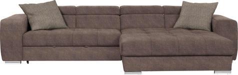 WOHNLANDSCHAFT in Textil Taupe - Taupe/Chromfarben, Design, Kunststoff/Textil (329/186cm) - Hom`in