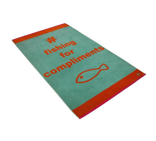 STRANDTUCH 100/180 cm - Jadegrün/Orange, KONVENTIONELL, Textil (100/180cm) - Vossen