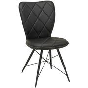 STUHL Lederlook Schwarz  - Schwarz, Design, Textil/Metall (49/90/61cm) - Hom`in