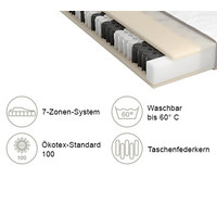 TASCHENFEDERKERNMATRATZE Sky 200 TFK 90/200 cm  - Weiß, Basics, Textil (90/200cm) - Schlaraffia