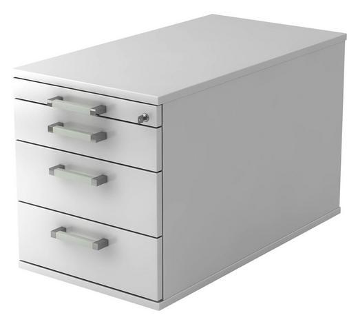 ROLLCONTAINER - Chromfarben/Weiß, KONVENTIONELL, Holzwerkstoff/Metall (42,8/51,2/80cm)