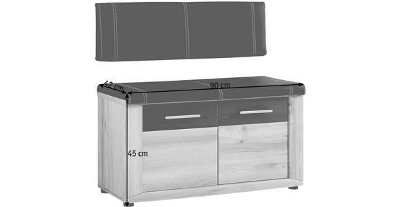 GARDEROBENBANK 90/45/42 cm - Dunkelgrau/Buchefarben, KONVENTIONELL, Holzwerkstoff/Textil (90/45/42cm) - Voleo