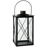 Laterne - Schwarz, Design, Glas/Metall (15/30/15cm) - Ambia Home