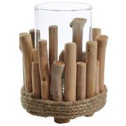 WINDLICHT - Klar/Naturfarben, Natur, Glas/Holzwerkstoff (14,5/18cm) - Ambia Home