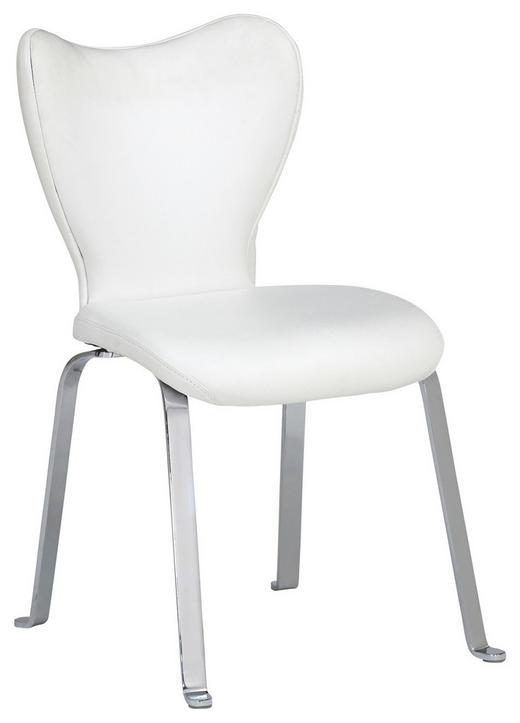 STUHL Echtleder Chromfarben, Weiß - Chromfarben/Weiß, Design, Leder/Metall (53/91/64cm) - Joop!