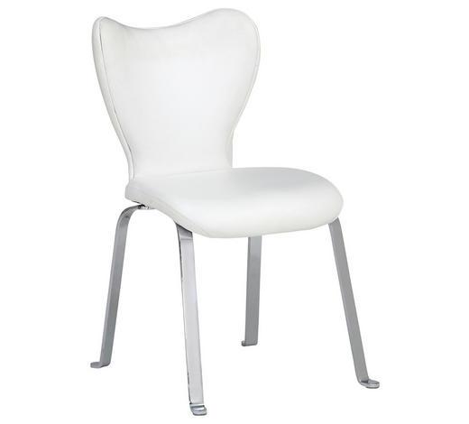 STUHL Echtleder Weiß, Chromfarben  - Chromfarben/Weiß, Design, Leder/Metall (53/91/64cm) - Joop!