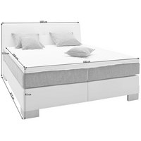 BOXSPRINGBETT 180 cm   x 200 cm   in Textil Grau, Weiß - Silberfarben/Weiß, KONVENTIONELL, Holz/Textil (180/200cm) - VOLEO