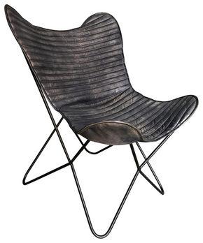 FÅTÖLJ - svart, Trend, metall/läder (72/78/92cm) - Ambia Home