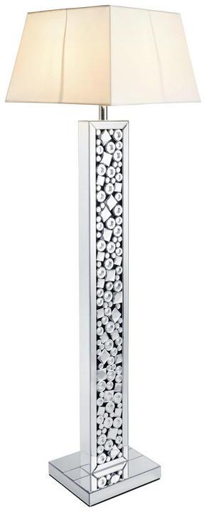 GOLVLAMPA - vit/silver, Design, glas/textil (36/141/30cm) - Ambia Home