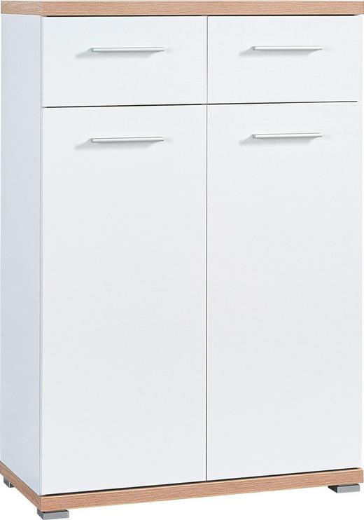SCHUHSCHRANK Sonoma Eiche, Weiß - Alufarben/Weiß, Design, Metall (74/110/34cm) - Carryhome