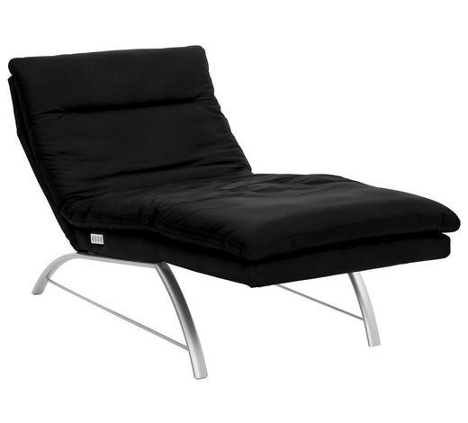 RELAXLIEGE in Leder Schwarz - Silberfarben/Schwarz, Design, Leder/Metall (85/91-110/170-190cm) - Chilliano