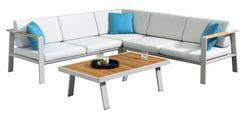 Loungegarnitur 4-teilig  - Weiß/Teakfarben, Modern, Holz/Textil (231,5/231,5cm) - Amatio