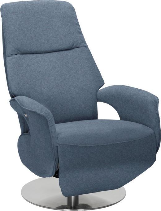 RELAXSESSEL Relaxfunktion - Blau/Chromfarben, Design, Textil/Metall (68/109/78cm) - Welnova