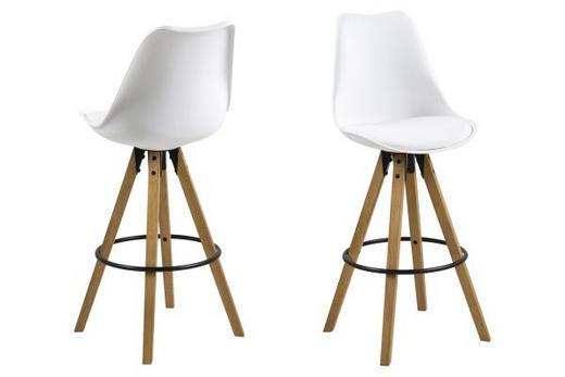 BARSKA STOLICA - bijela/boje hrasta, Design, tekstil/drvo (44/85/42cm) - Carryhome