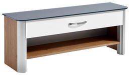 GARDEROBENBANK 117/46/34 cm  - Eichefarben/Alufarben, Design, Glas/Holzwerkstoff (117/46/34cm) - Moderano