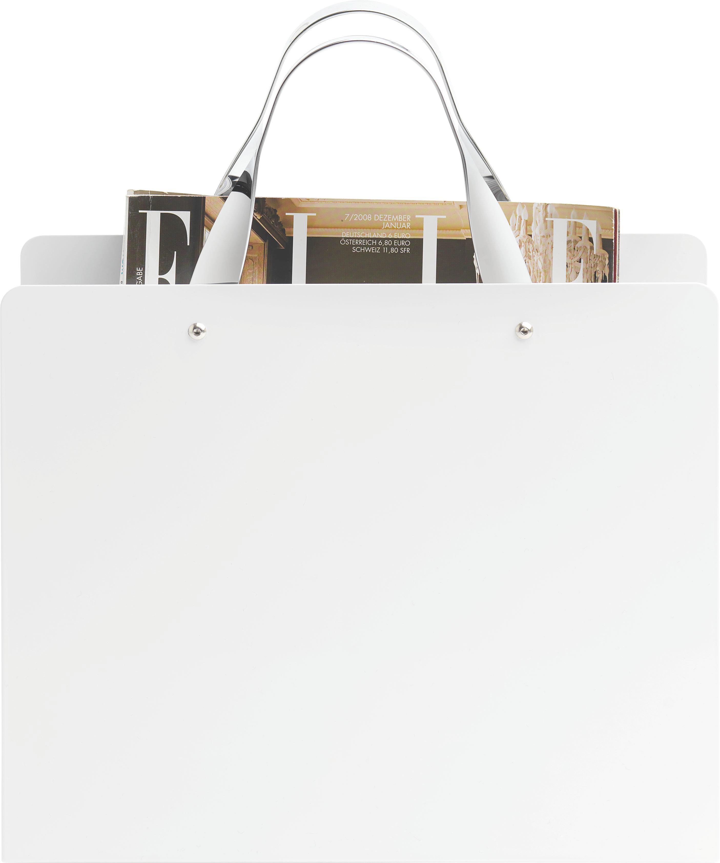 STALAK ZA NOVINE - bijela/boje kroma, Design, metal (30/25/35,3/10cm) - BOXXX