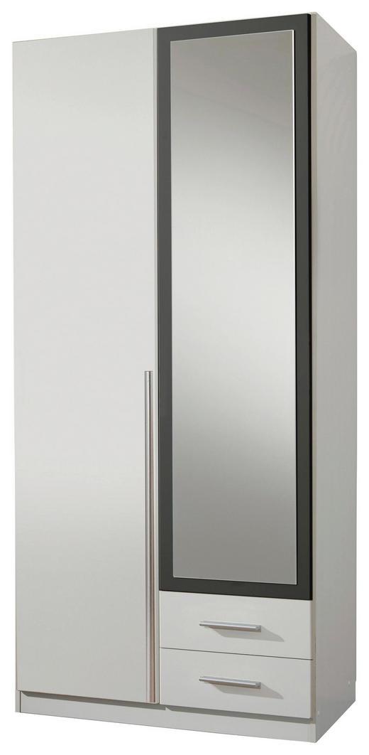 DREHTÜRENSCHRANK 2-türig Graphitfarben, Weiß - Graphitfarben/Alufarben, Design, Holzwerkstoff/Kunststoff (90/198/56cm) - Carryhome
