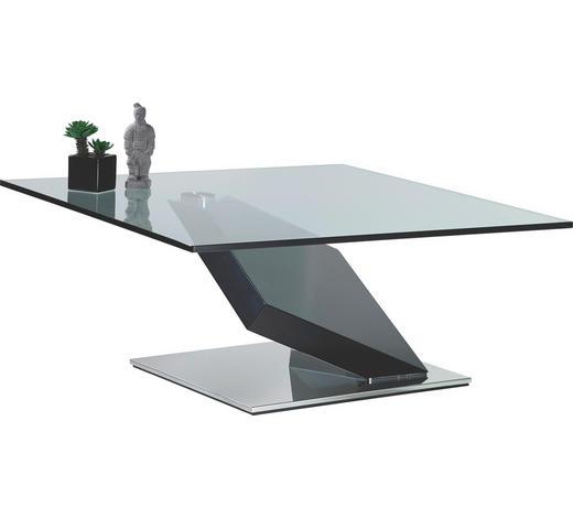 COUCHTISCH in Metall, Glas, Holzwerkstoff 95/95/41 cm - Schwarz, Design, Glas/Holz (95/95/41cm)