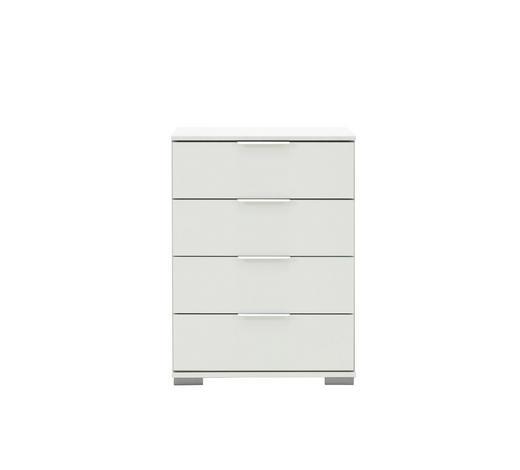 NACHTKÄSTCHEN in Weiß  - Chromfarben/Alufarben, Design, Holzwerkstoff/Kunststoff (52/74/38cm) - Carryhome