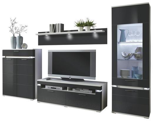 WOHNWAND Graphitfarben, Weiß - Graphitfarben/Alufarben, Design, Glas/Holzwerkstoff (335,3/207,4/50,8cm) - Stylife