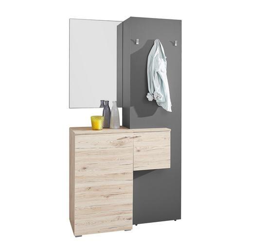 GARDEROBE Eichefarben, Grau - Eichefarben/Grau, Design, Glas (110/205/40cm) - Carryhome