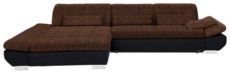 WOHNLANDSCHAFT in Textil Orange, Schwarz  - Chromfarben/Schwarz, Design, Kunststoff/Textil (204/341cm) - Xora