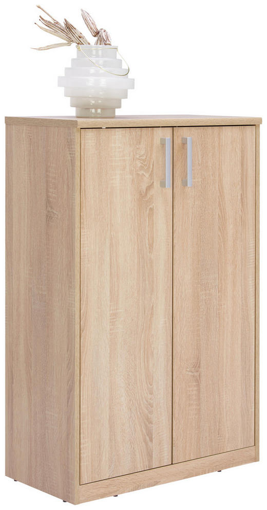 KOMMODE Sonoma Eiche - Silberfarben/Schwarz, Basics, Holzwerkstoff/Metall (72/110/36cm) - Xora