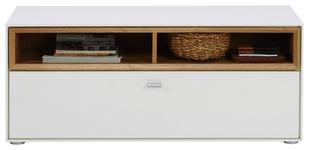GARDEROBENBANK 110/47/35 cm - Eichefarben/Silberfarben, Design, Holzwerkstoff/Kunststoff (110/47/35cm) - Hom`in