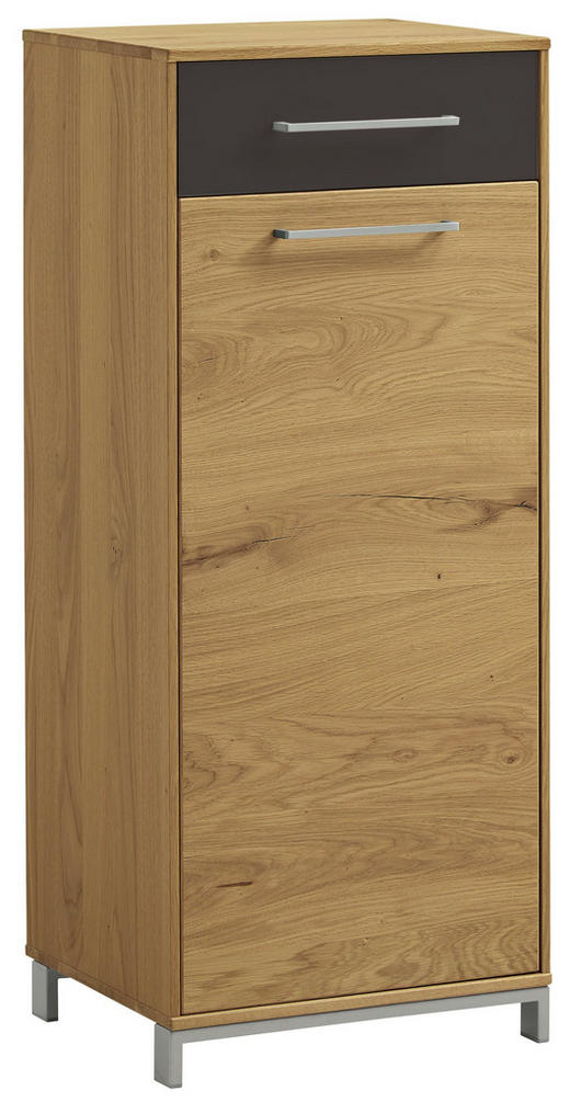 SCHUHSCHRANK Balkeneiche, Eiche furniert, teilmassiv lackiert Anthrazit, Eichefarben - Edelstahlfarben/Eichefarben, Natur, Glas/Holz (44/105/37cm)