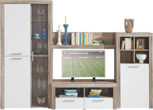 WOHNWAND Eichefarben, Weiß - Eichefarben/Messingfarben, Design, Glas/Holzwerkstoff (271/194/42cm) - Carryhome