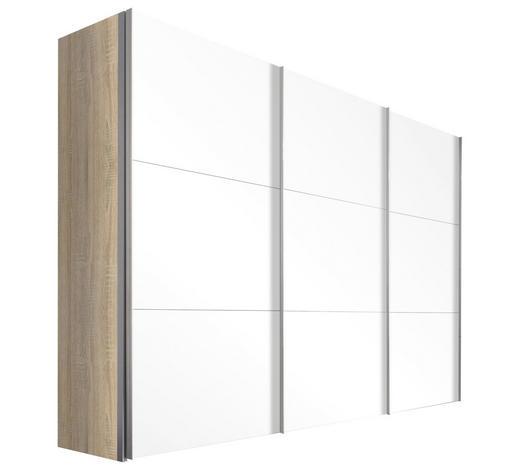 SCHWEBETÜRENSCHRANK in Sonoma Eiche  - Alufarben/Sonoma Eiche, Design, Glas/Holzwerkstoff (300/216/68cm) - Hom`in