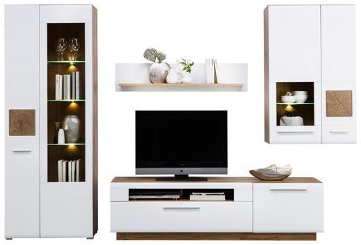OBÝVACÍ STĚNA, barvy dubu, bílá - bílá/barvy dubu, Konvenční, kompozitní dřevo/umělá hmota (300/202/46cm) - Hom`in
