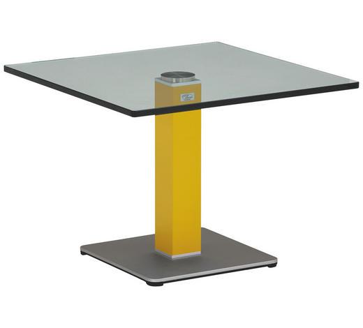 BEISTELLTISCH in Gelb, Silberfarben  - Gelb/Silberfarben, KONVENTIONELL, Glas/Holzwerkstoff (60/60/44,5cm)