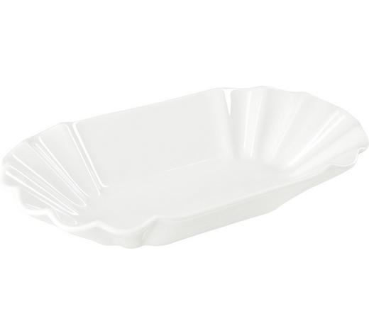 SNACKSCHALE Keramik Porzellan  - Weiß, Basics, Keramik (25,7/14,6/4cm) - Homeware