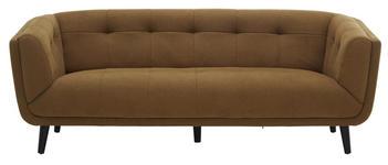 DREISITZER-SOFA in Textil Gelb, Schwarz  - Gelb/Schwarz, MODERN, Holz/Textil (200/75/88cm) - Carryhome